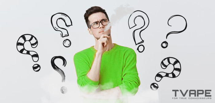 Man vaping with question marks