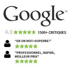 Over 1500 Reviews on Google with a 4.8 five stars rating.